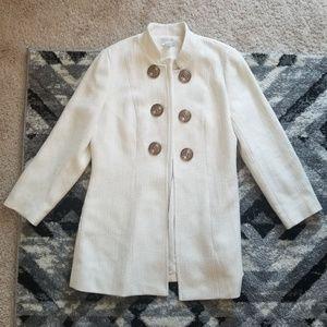Soft Surroundings Tweed White Ivory Coat Jacket  M